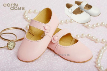 Pink Emma soft leather pram shoes by Early Days at Petit Posh