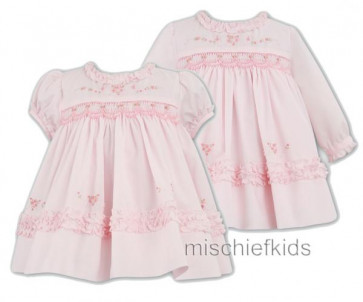 Sarah Louise 9981 Pink Long Sleeve Smocked Dress