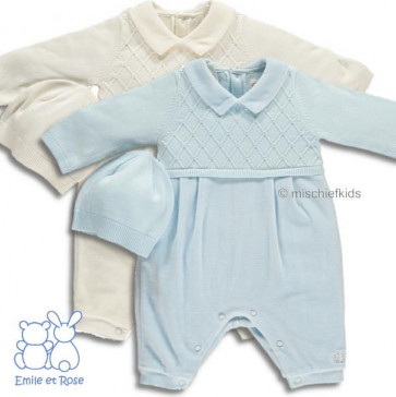 Emile et Rose 1622 FELIX Diamond Knit Onesie Romper and Hat