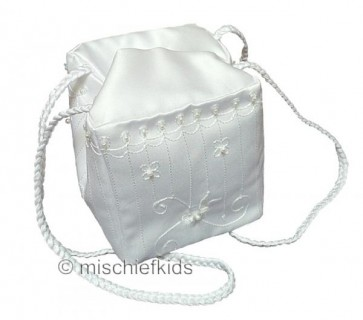 Little People 2816 Square White Satin Communion Bag