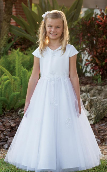 Sarah Louise 090012 Girls White Communion Dress with tulle overlay skirt