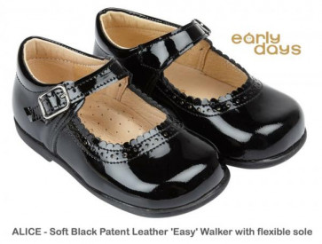 Early Days ALICE Black Patent Leather Easy Walker Mary Jane Shoe