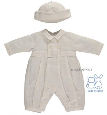 Emile et Rose 1654 HARRISON White Linen Onesie Romper and Hat
