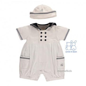 Emile et Rose 7240 HARLEY White/Navy Sailor Romper/Hat 161