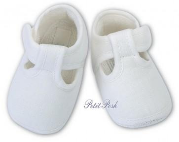 Sarah Louise 004484 white Linen T.Bar Pram Shoes