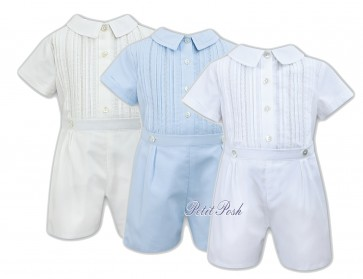 Sarah Louise 011438 boys buster suit white ivory or blue