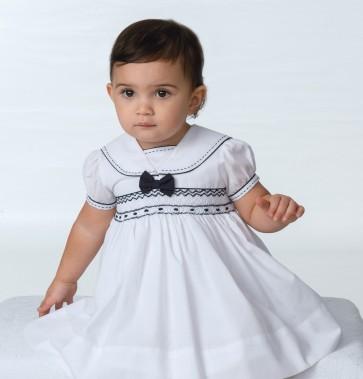 Sarah Louise 011504_baby girls white navy sailor dress
