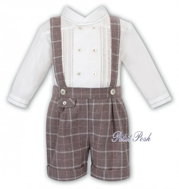 Sarah Louise 011750 Boys ivory Shirt & brown check Shorts with braces Set