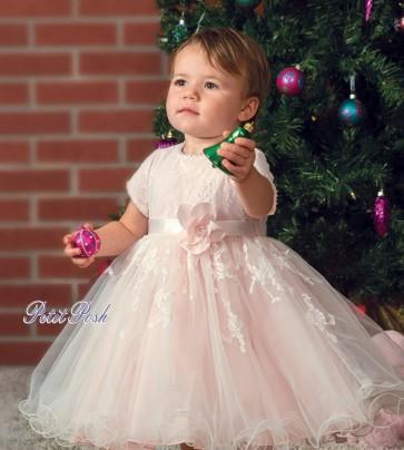 Sarah Louise 070064 TIFFANY Ivory Peach Christening Dress