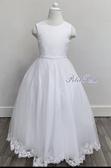Sweet D 8081 Polly Embroidered Hem Organza Communion Dress Full Length