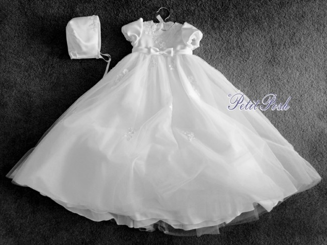 87532ab076e4 Sarah Louise 001054 Puff Sleeve Embroidered Christening Gown ...