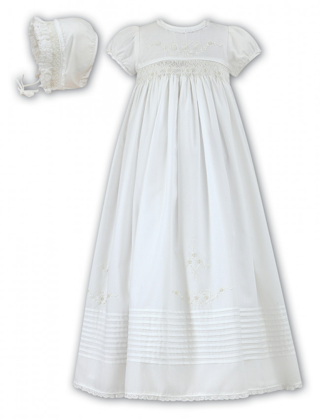 6ec0d157c Sarah Louise 001168 Hand Smocked Cotton Christening Gown and Frilly Bonnet  IVORY