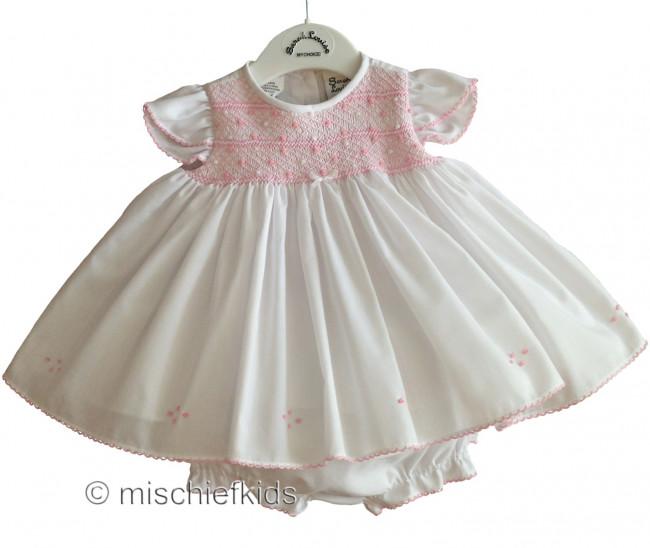 83019ba1b Sarah Louise 010631 Smocked Dress   Panties WHITE PINK