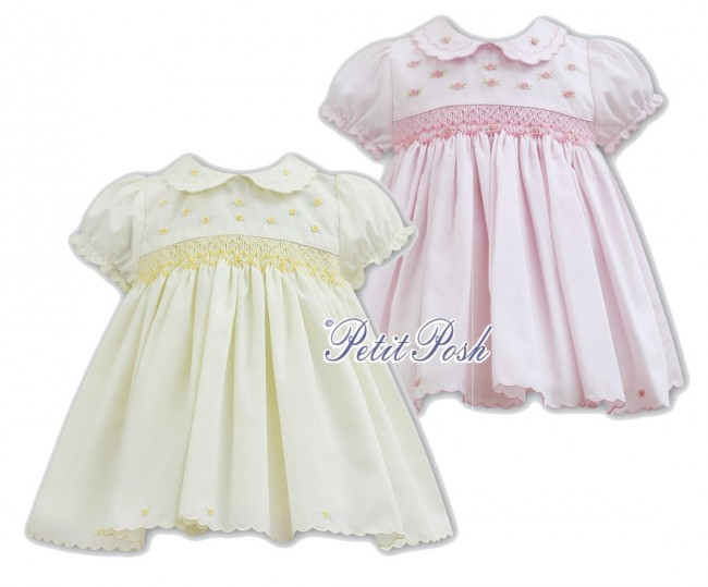 6ccaea309 Sarah Louise 011072 Baby Smocked Dress in Lemon or Pink