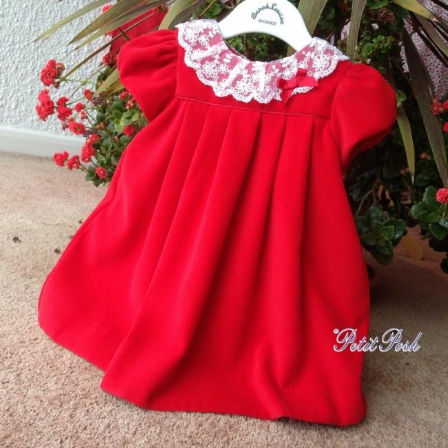 1944f1104ac Sarah Louise 040000 Girls Red Velvet Dress