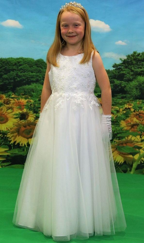 f6e182292 Girls white full length communion dress £89.99 · Zoom · Little People  BLOSSOM Communion | Flowergirl Dress 70909