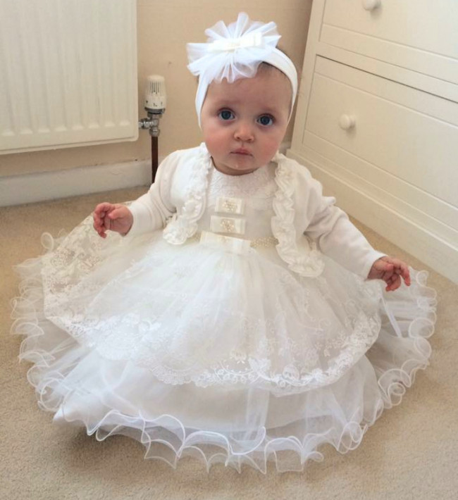 14162ba67 Couche Tot 123070 SALLY Tulle Christening Dress and Headband IVORY or WHITE