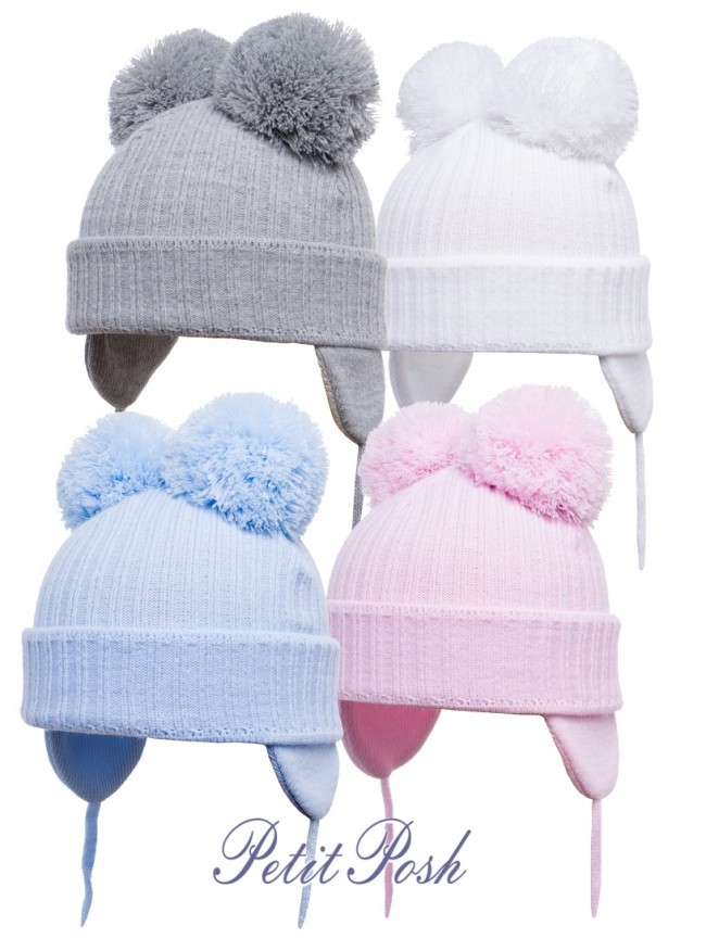 d463115ff14 Satila Hat with Huge Double Pom Poms in Grey white pink or blue