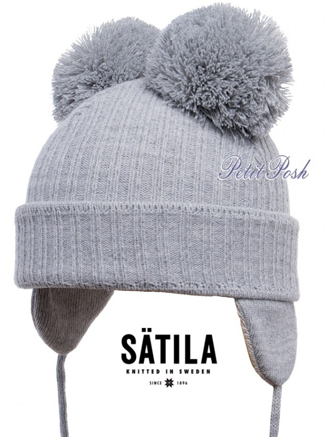 9c0d806f778 Pale Grey Satila Huge Double Pom Hat with cotton lining