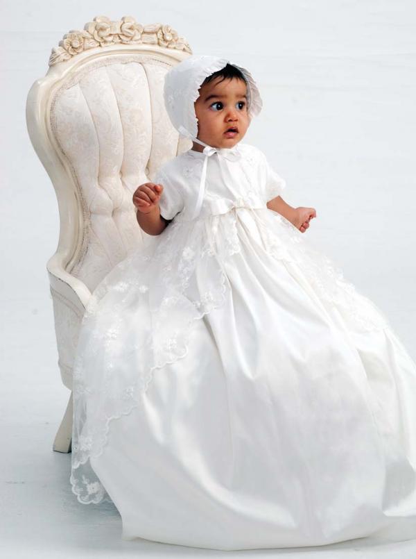 Sarah Louise 001133 Ivory Silk & Lace Christening Gown & Bonnet ...