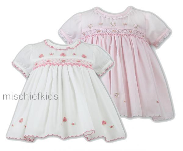 1622a37fa Sarah Louise 0109678 Baby Smocked Dress PINK or IVORY/PINK | Petit Posh