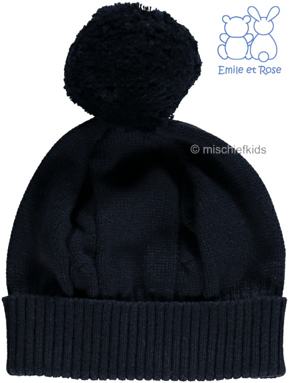 Emile et Rose 4658 FUZZY Cable Knit Bobble Hat NAVY  dad4f7bcac1