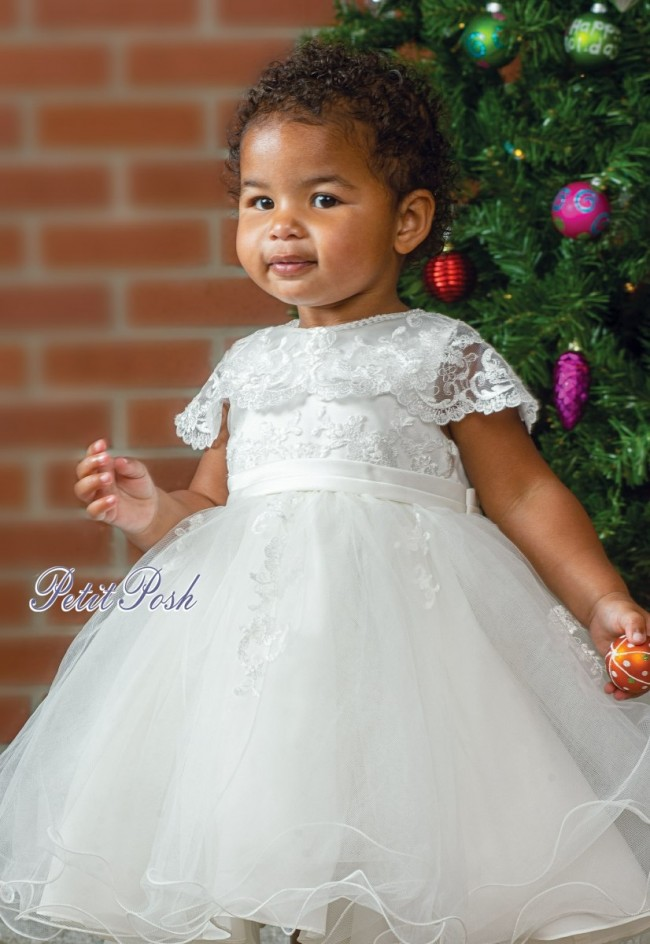 Sarah Louise 070088 Carole Tulle Lace Christening Dress