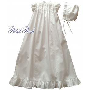 Sarah Louise 001167 Pintuck Puff Sleeve Gown & Frilly Bonnet