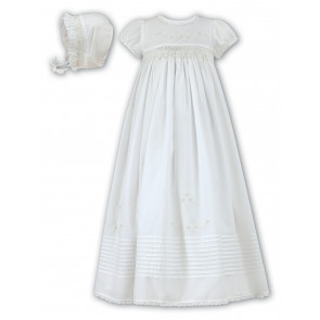 Sarah Louise 001168 Hand Smocked Cotton Christening Gown and Frilly Bonnet IVORY