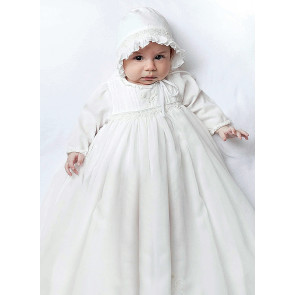 Sarah Louise 001169L Smocked Long Sleeve Christening Gown & Bonnet WHITE