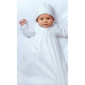 001175LSarah Louise simple unisex pintuck gown white