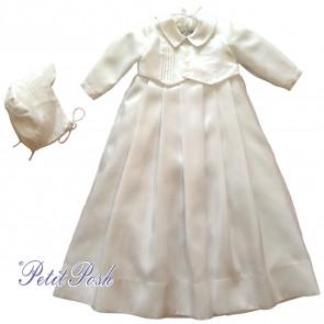 Sarah Louise 001176S Short Sleeve Mock Waistcoat Christening Gown & Cap Style Bonnet Set