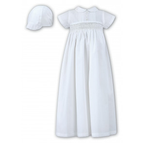 Sarah Louise 001178 Boys Smocked Gown & Cap WHITE
