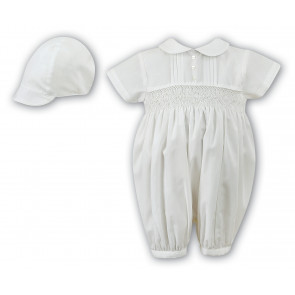 Sarah Louise 002200 Boys Smocked Romper & Cap IVORY Long or Short Sleeve