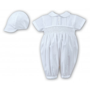 Sarah Louise 002200 Boys White Smocked Cotton Baptism Romper
