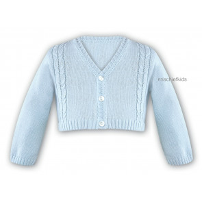 006784 Boys Cable Knit Cotton Cardigan BLUE