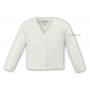 006784 Boys Cable Knit Cotton Cardigan IVORY