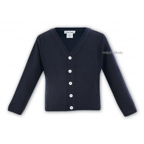 006784 Boys Cable Knit Cotton Cardigan NAVY