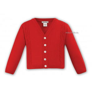 006784 Boys Cable Knit Cotton Cardigan RED