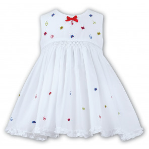 Sarah Louise 010664 Swingy Smocked Dress WHITE/MULTI