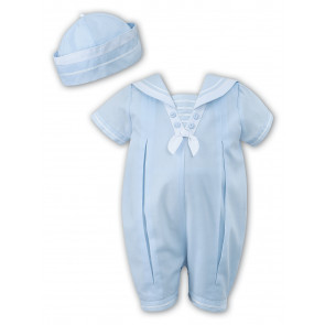 Sarah Louise 010813 Boys Sailor Romper & Hat BLUE/WHITE