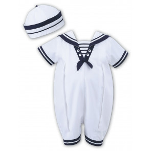Sarah Louise 010813 Boys Sailor Romper & Hat WHITE/NAVY