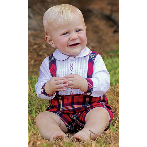 011018 Sarah Louise Tartan Top & Shorts Set with braces