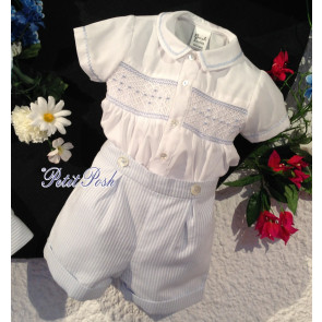 Sarah Louise 011125 Boys White & Blue Smocked Buster Suit