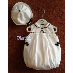 Sarah Louise 011171 Baby Girl Bubble Romper & Hat white with navy trime
