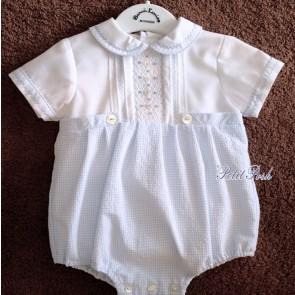 Sarah Louise 011515 Baby Boys Bubble Romper Blue