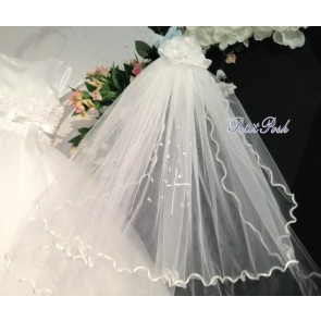 Sarah Louise 055008 Wavy Hem Communion Veil with Holy Cross