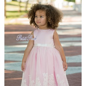 ef8466d068cf Sarah Louise 070017 CHANTILLY Embroidered Christening or Flower Girl Dress  IVORY WHITE or PINK