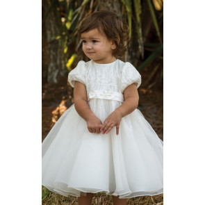 070079 Sarah Louise Fern Ivory Christening Dress