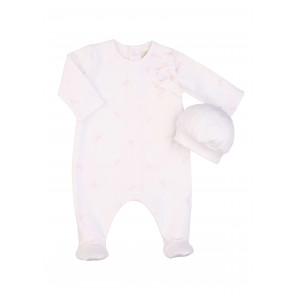 Emile et Rose 1543 COSIMA White Pink Bows Romper Onesie and Hat Set